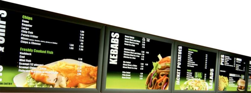 Ecran led pour vitrine de magasin totem led panneau for Panneau exterieur restaurant